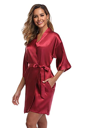 iFigure Women's Short Kimono Robe Dressing Gown Silky Bridesmaid Robes Bathrobe, Wine red, -