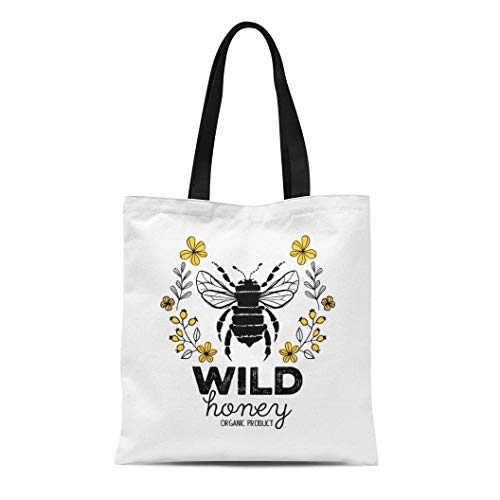 Semtomn Cotton Canvas Tote Bag Honeycomb Honey Label for Organic Products Abstract Animal Badge Reusable Shoulder Grocery Shopping Bags Handbag Printed