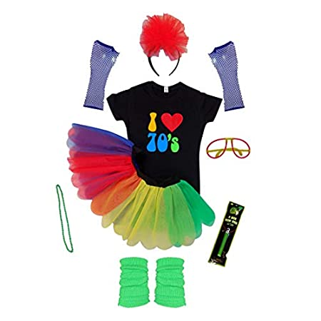I Love 70S NEON Tutu Skirt Fancy Dress T-Shirt Hen Party RED Yellow Green Blue 41vdLsnul3L