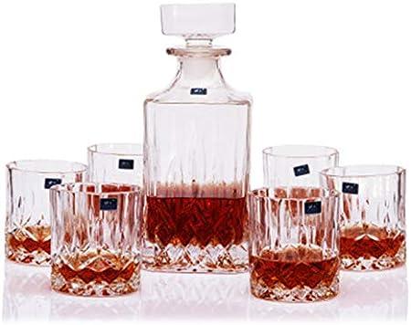 SuDeLLong Juego de Vasos y Jarra de Whisky Decantador de Whisky y Gafas fijó el decantador de Whisky de Cristal con 6 Vaso de Vidrio (Color : Clear, Size : 7 Piece Set)