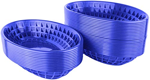 (Bear Paw Products - Plastic Food Baskets - Oval Baskets - 36 Pack - Perfect for Fries, Burgers, Sandwiches, and More!)