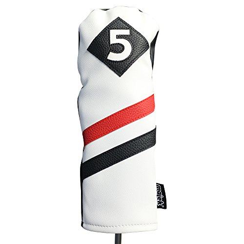 Majek Retro Golf Headcover White Red and Black Vintage Leather Style #5 Fairway Wood Head Cover Classic Look (5 Cover Wood)