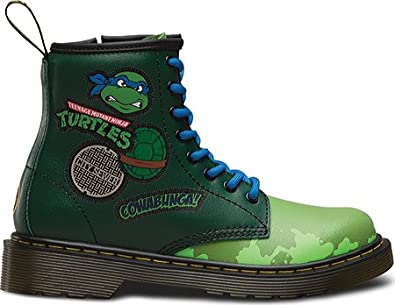 4368a8f0800add Dr Martens Junior TMNT Leo Leather Lace Up   Zip Boot Green Size 3 (Older)   Amazon.de  Schuhe   Handtaschen