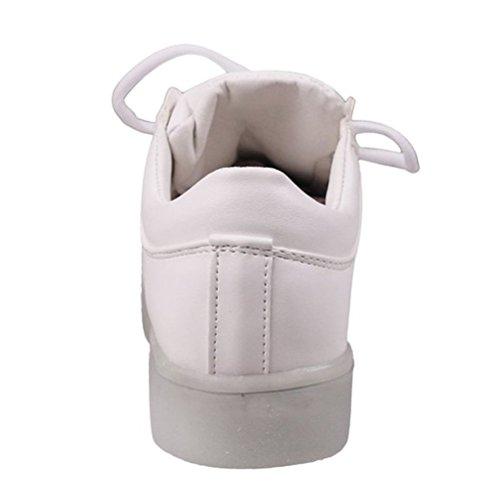 (Present:kleines Handtuch)JUNGLEST® Unisex-Erwachsene LED Leuchtende Turnschuh Weiß