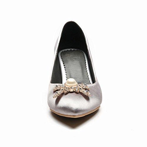 Carolbar Women's Fashion Elegant Rhinestones High Heel Court Shoes Silver Grey EGuerTrX