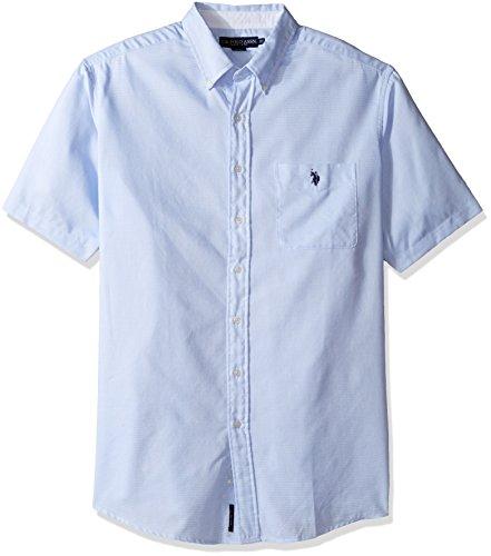 U.S. Polo Assn. Men's Tall Big & Tall Classic Fit Single Pocket Stripe, Plaid or Print Sport Shirt, Artist Blue 3X ()