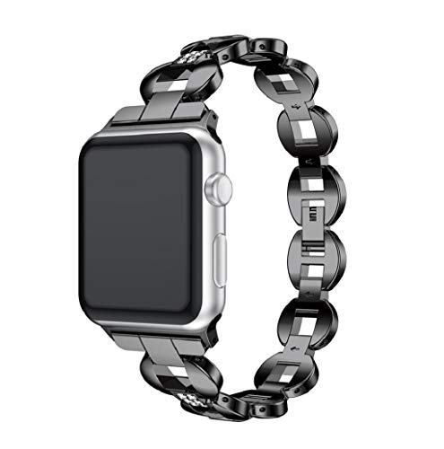 - Stainless Steel Wrist Bands Crystal Compatible Apple Watch Band Strap 38mm / 42mm for Iwatch Series 3 JHKUNO (38mm, Black)