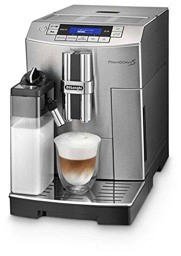 Delonghi super-automatic espresso coffee machine with an adjustable grinder, double boiler, milk frother, maker for brewing espresso, cappuccino, latte, macchiato. ECAM28465MB PrimaDonna Review