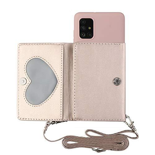 TYWZ Crossbody Case voor Samsung Galaxy A41, Schouderriem Portemonnee PU Lederen Flip Cover met Creditcard Houder Stand…