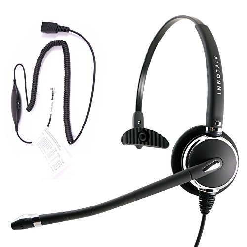 RJ9 Headset - Luxury Professional Monaural Headset + Virtual RJ9 cord for ANY phone's modular jack, Compare GN1200 Smart cord (Gn1200 Cord)