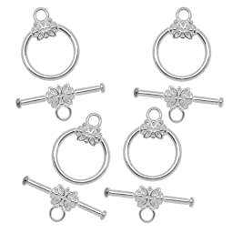 Beadaholique Flower Toggle Clasps, 14mm, Silver, Set of 5
