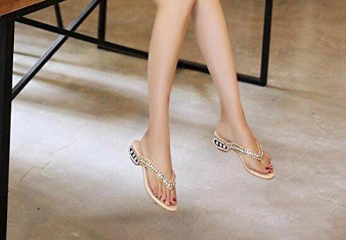 PBXP Flip-Flops OL Chunky Rhinestones Decorazione Heel antisdrucciolevole Comodo Elegant Scarpe Casual Scarpe Respirabile EU Size 34-39 , apricot , 38
