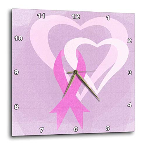 3dRose DPP_79099_1 Pink Ribbon Hearts Breast Cancer Awareness Inspirational Art Wall Clock, 10 by 10