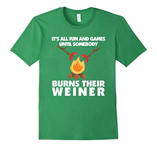 Mens Funny Camping Roasting Weiner T-Shirt Hot Dog Road Trip Tee XL Grass