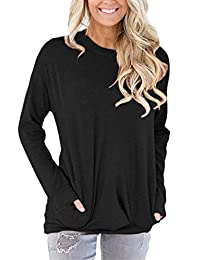onlypuff Women's Casual Solid Long Sleeve Tunic Tops with Pockets