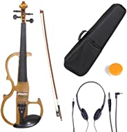 Cecilio CEVN-2BK Ebony Fitted Silent Electric Left-Handed Violin, Style 2, Metallic Black, Size 1/2