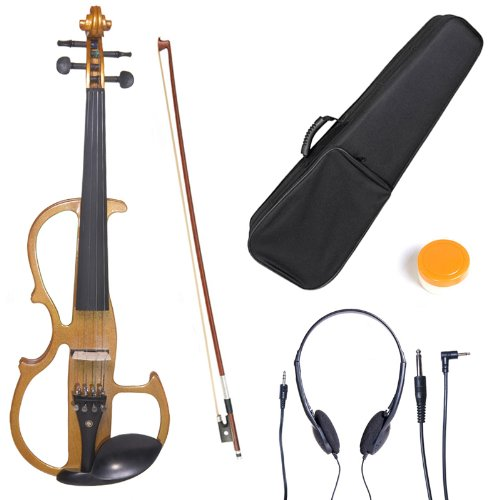 Cecilio L4/4CEVN-L2Y Left-Handed Solid Wood Yellow Maple Metallic Electric Violin with Ebony Fittings in Style 2 (Full Size) by Cecilio