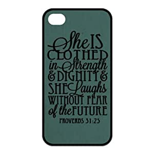Bible Quote Proverbs 31:25 Iphone 6 4.7 for kids (pc hard) Silicone Case Cover -She is clothed in strength and dignity and she laughts without fear of the future