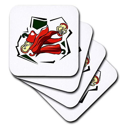 3dRose Susans Zoo Crew Food Vegetable Hot Pepper - Peppers abstract square graphic - set of 4 Coasters - Soft (cst_175645_1)