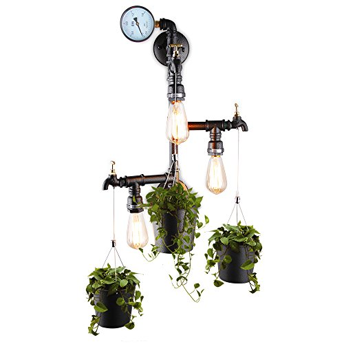 3-Light Industrial Water Pipe Faucet Wall Sconce Kitchen with 3 Hanging Buckets Planter Flower Pot Steampunk Pipe Wall Lamp
