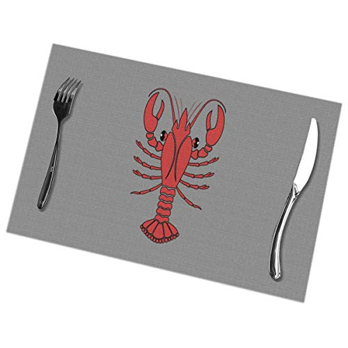 Efbj Washable Placemats for Kitchen Table Dining Room Decor, Lobster Print Table Mats Rectangle, 6 PCS]()
