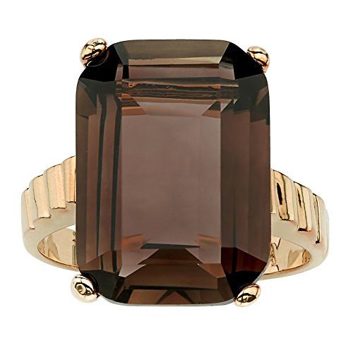 [Emerald-Cut 14k Gold-Plated Smoky Quartz Ring] (Emerald Cut Smoky Quartz Ring)