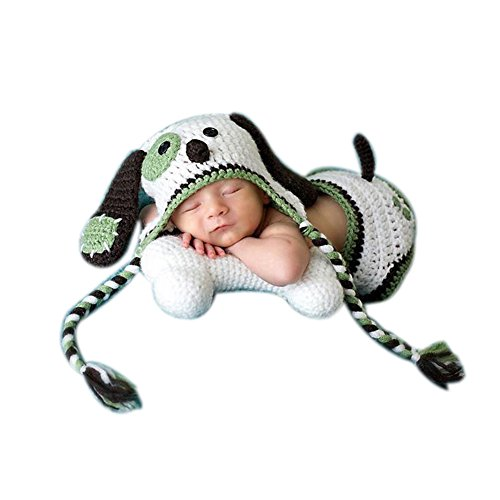 Doggie Basket Costumes (Newborn Baby Photography Photo Props Boy Girl Costume Outfits Green Doggy Set)