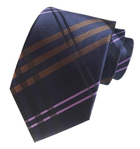 Men's Navy Blue Brown Pink Geometric Plaids Striped Tie Trendy Patterned Necktie