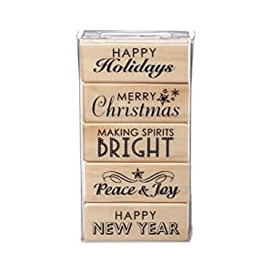 Holiday Phrases Wood Stamp Set by Recollections