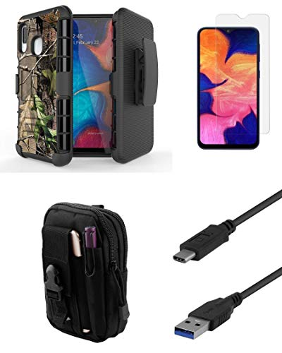 - Bemz Accessory Bundle Kit for Samsung Galaxy A10e: BC Armor Case with Belt Holster Clip (Tree Leaves Camo), Screen Protector, Tactical Travel Pouch, USB 3.1 Type-C SuperSpeed Cable (3.3 Feet)