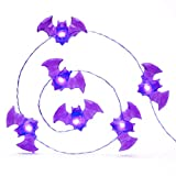 Impress Life Halloween Party String Lights, Purple Blood Mini Haunted Bat Silver Flexible Wire 10 ft 40 LED with Remote for Indoor Covered Outdoor All Saints' Eve Parties, Mantle Fireplace Decorations