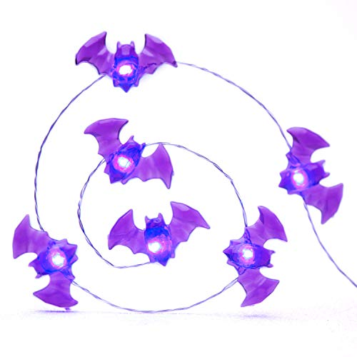 Impress Life Halloween Party String Lights, Purple Blood Mini Haunted Bat Silver Flexible Wire 10 ft 40 LED with Remote for Indoor Covered Outdoor All Saints' Eve Parties, Mantle Fireplace Decorations (Batman String Lights)