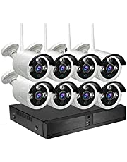 8CH 1080P / 2.0MP HD واي فاي NVR مجموعة لاسلكي NVR مجموعة لا سلكي NVR مجموعة 8 قطع للرؤية الليلية IR الخارجية 1TB HDD مثبتة