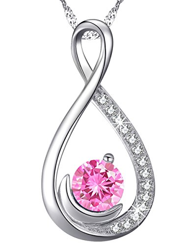 Tourmaline Center (Pink Tourmaline Swarovski Necklace Jewelry Birthday Anniversary Xmas Christmas Gifts for Woman Sterling Silver Infinity and Moon Pendant, 18