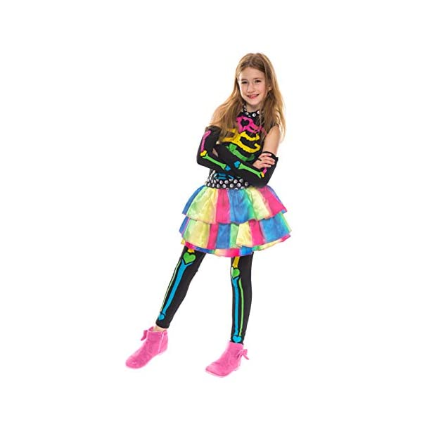 Funky Punky Bones Colorful Skeleton Deluxe Girls Costume Set with Hair Extensions for Halloween Costume Dress Up Parties. 9