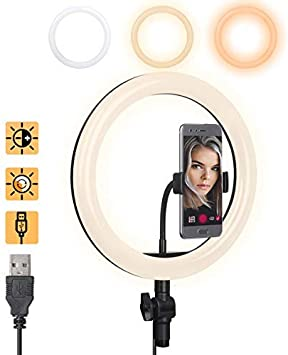 10 LED Ring Light with Tripod Stand /& Phone Holder,Dimmable Desk Makeup Ring Light,General//YouTube Video Live Stream//Photography//Makeup//Vlog,with 3 Light Modes /& 10 Brightness Level