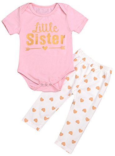 Price comparison product image Baby Girls Family Matching Clothing Set Little Big Sister Romper Shirt Tops+Gold Heart Long Pants Outfit Set (Little Sister, 0-6 Months)
