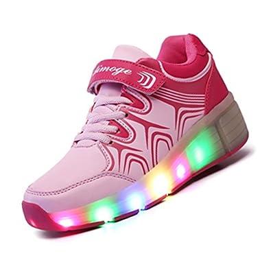 pretty nice 0d858 d79d4 Roller-Skate shoes - Aimoge Boys Girls Kids Roller Shoes Ultra Light Up  Roller-Skate Heelys Wheel Shoes Sneaker -Pink, 35  Amazon.co.uk  Shoes    Bags