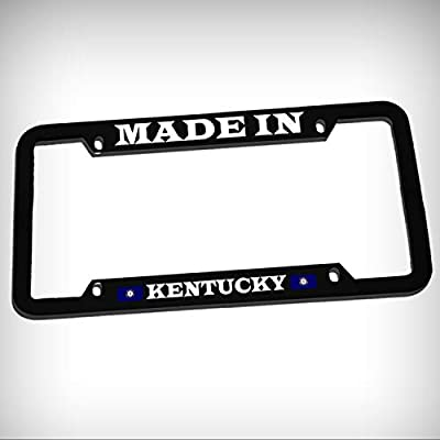 Made in Kentucky Zinc Metal Tag Holder Car Auto License Plate Frame Decorative Border - Black Sign for Home Garage Office Decor