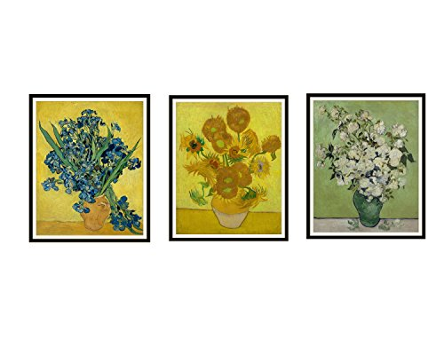 Paper Moon Media Set of 3 Vintage Unframed Vincent Van Gogh Art Print Poster Reproduction Sunflowers, Iris' and Roses in Vases Unframed 8 x 10 (8 x 10) Farm House Art