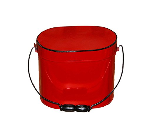 Red Enamel Lunch Pail - Set Of 2
