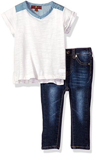 7 For All Mankind Baby Girls 2 Piece Tunic Top and Skinny Jean Set Jet Stream 24M