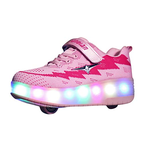 MIS1950s Rechargeable Kids Light Up Flashing Roller Skate Shoes Teen Double Wheel Shoes Sport Sneaker