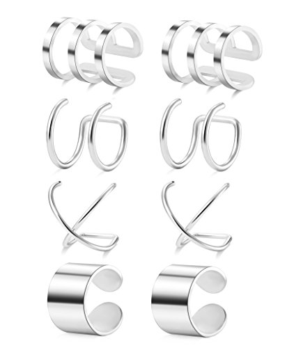 Tornito 4 Pairs Stainless Steel Ear Cuff Helix Cartilage Clip On Wrap Earrings Fake Nose Ring Non-Piercing Adjustable (A2: 4 Pairs, Silver Tone) ()