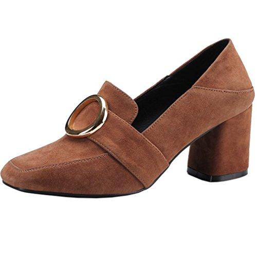 ENMAYER Frauen Square Toe Chunky Heel Kleid Pumps Schuhe für Frauen Wildleder Buckle Court Schuhe Braun