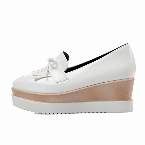 Latasa Mujeres Slip On Tassel Wedges Mocasines Zapatos Blanco