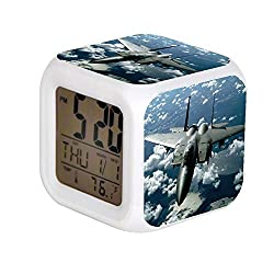 Aekdie LED Alarm Colock 7 Colors Changing Digital Desk Gadget Digital Alarm Thermometer Night Glowing Cube led Clock Home Children's Gray Fighter Jet in White Clouds.JPEG