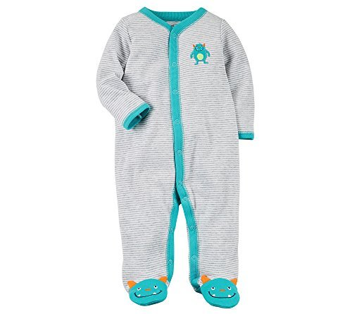 Carter's Baby Boys' Baby Boys Striped Snap up Monster Cotton Sleep and Play Preemie