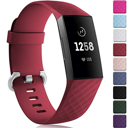Maledan Compatible with Fitbit Charge 3 Bands for Women Men, Small, Wine Red