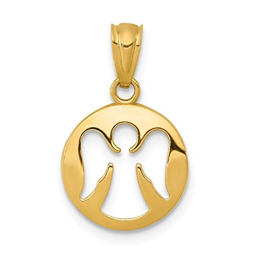 14k Yellow Gold Cut Out Angel Pendant Charm Necklace Religious Fine Jewelry For Women Gift Set (Charm Gold Cat Yellow)